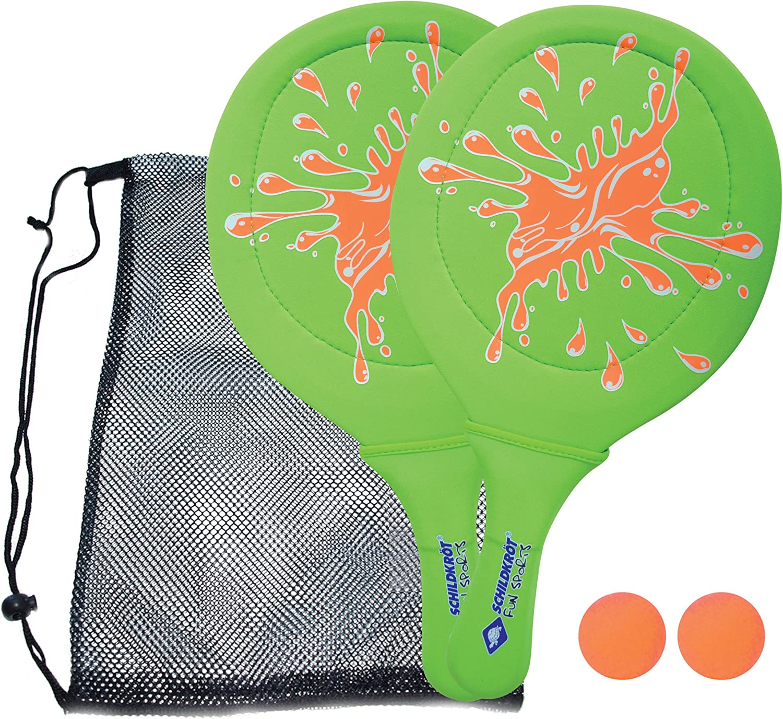 Schildkröt Funsports Juego de Tenis de Playa de Neopreno, 2 Raquetas, 2 Pelotas, en un Bolsillo de Malla