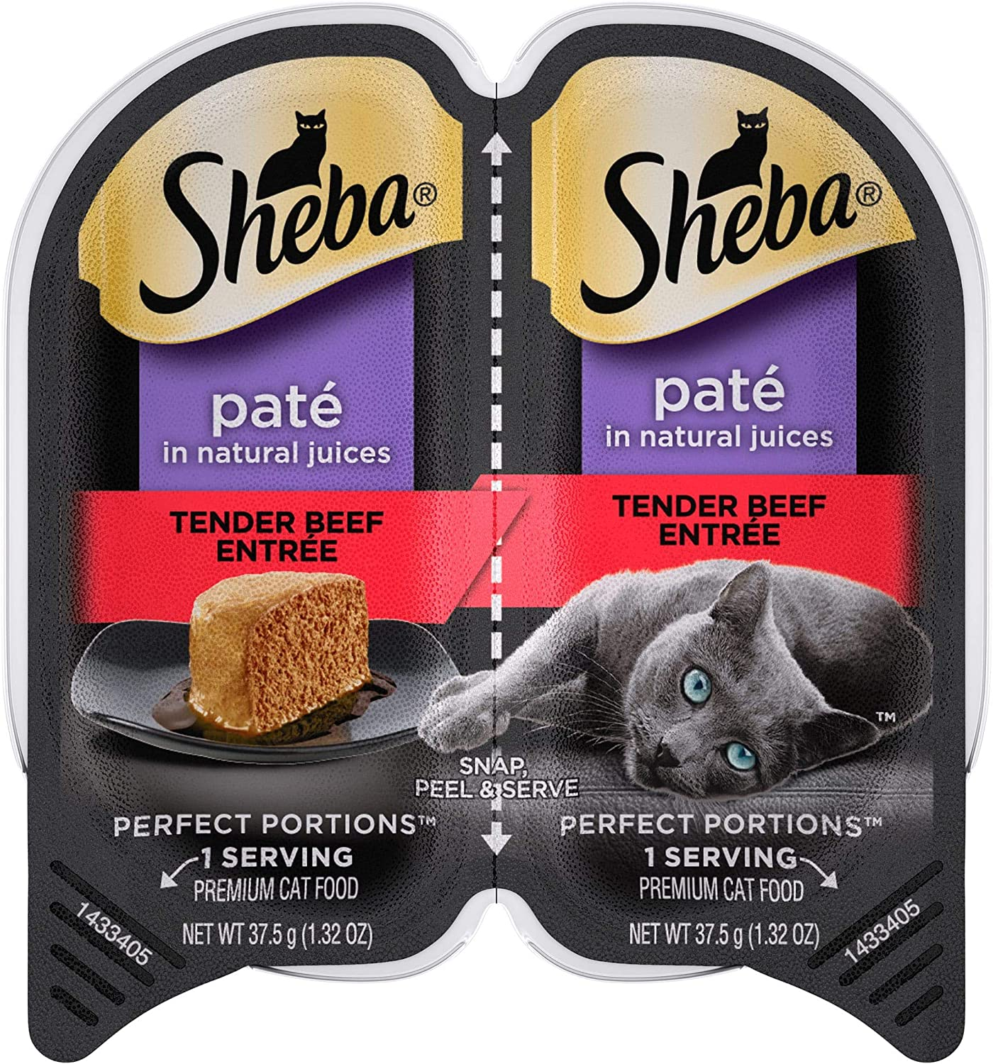 Sheba Perfect Portions Tender Beef Entree Wet Cat Food, 2.64 oz., Case of 24, 24 X 2.64 OZ