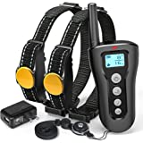 Shock Collar For Dogs, iSPECLE 2018 Upgraded Waterproof Dog Training Collar 2 Dog Shock Collar with Remote 330yd Long Range Tone Vibration Shock for Medium Large Breed, Handsfree Neck Lanyard, Adapter