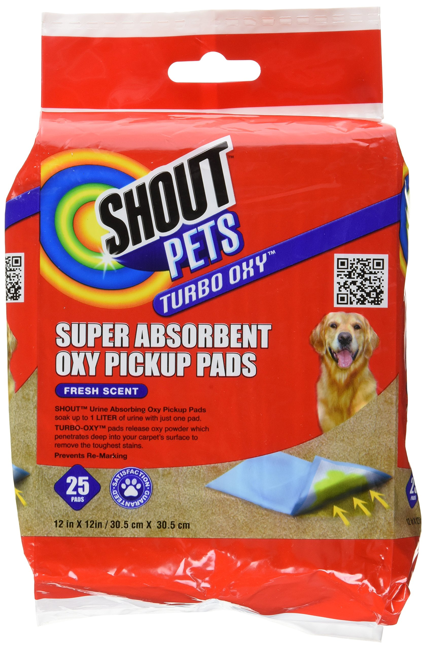 Shout for Pets Turbo Oxy Super Absorbent Oxy Pickup Pads | Best Pet Urine Pick Up Pads For Absorbing Pee Stains, 25 pads, Fresh Scent