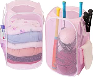 2 Pack - SimpleHouseware Mesh Pop-Up Laundry Hamper Basket with Side Pocket, Pink