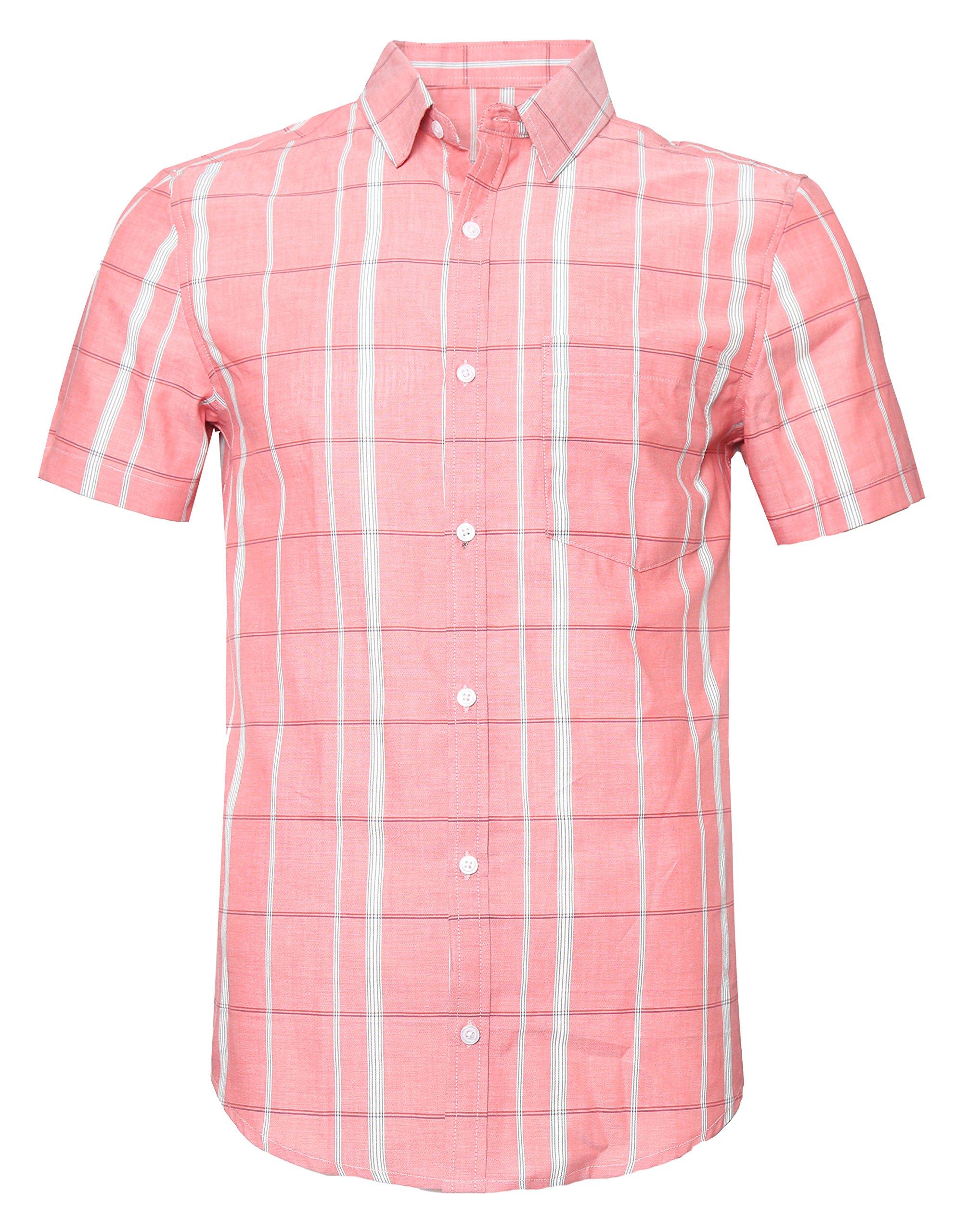 SOOPO Men's Slim-Fit Short Sleeve Plaid Twill Shirt Pink XXXL