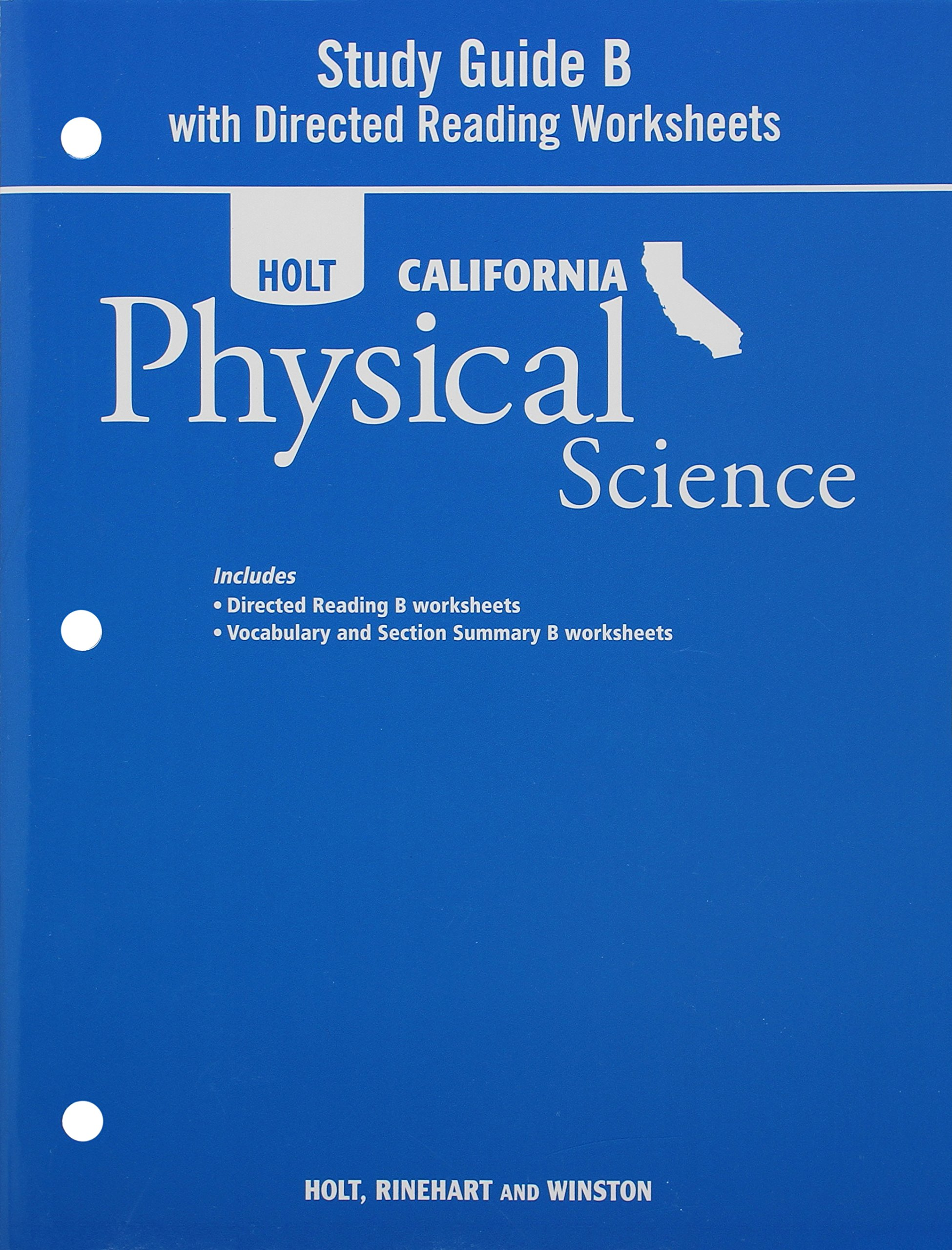 Worksheets Holt Physical Science Worksheets holt science technology california study guide b with directed reading worksheets grade 8 physical rinehart and winst