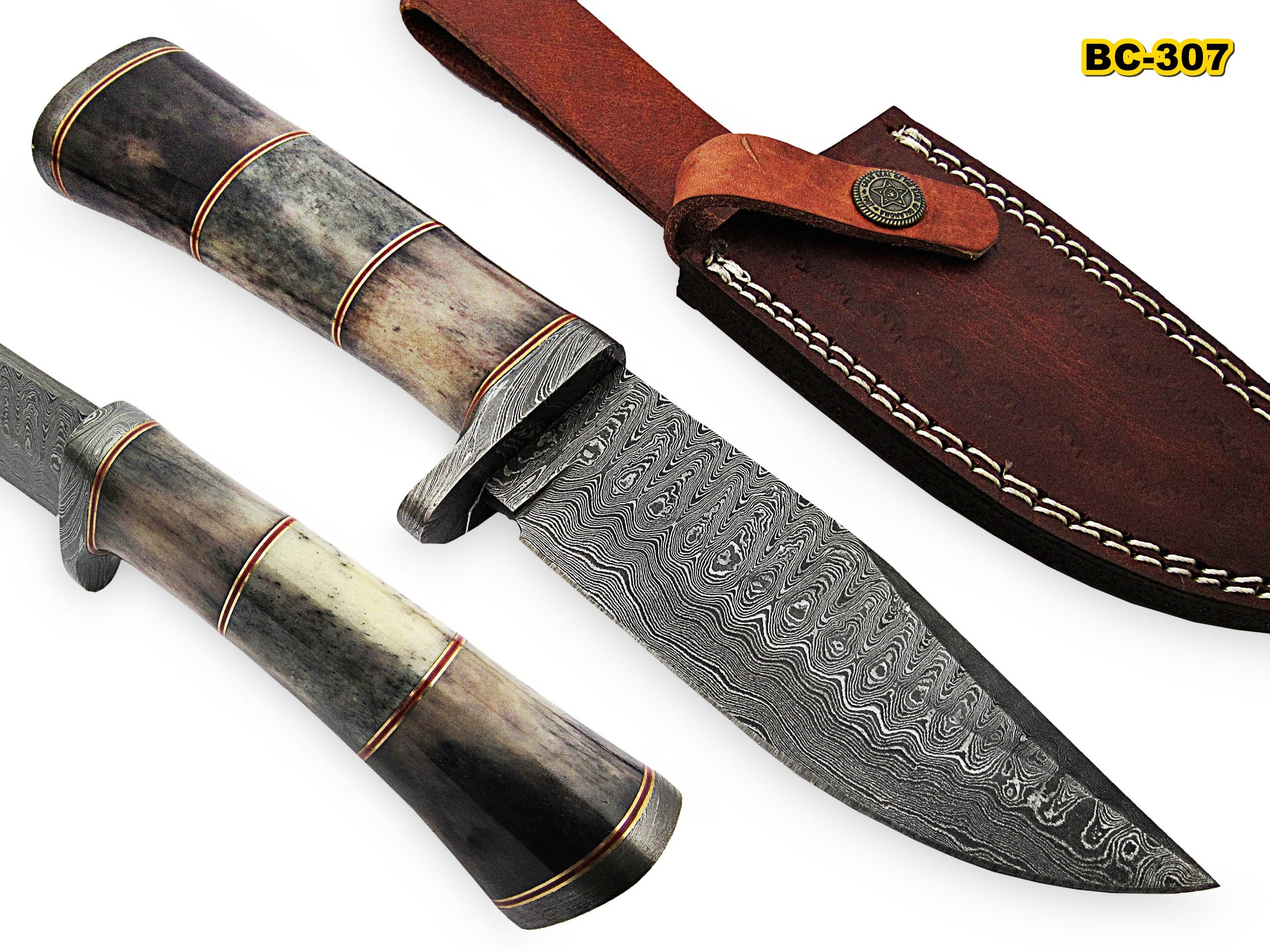 BC-307 Limited Edition - Custom Handmade Damascus Steel knife -Coloured Bone Handle