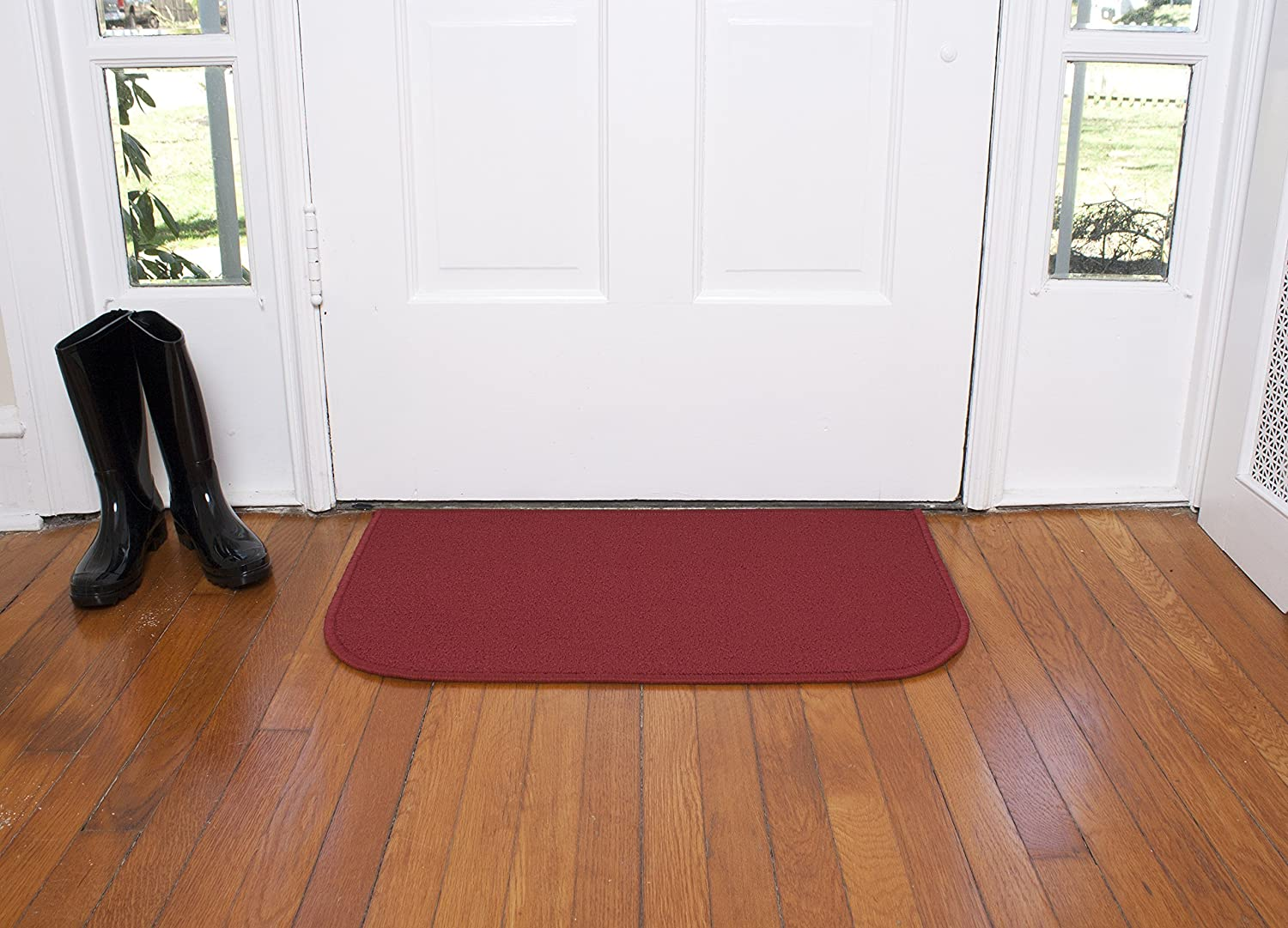 Ritz Accent, Stain Resistant Kitchen Floor Rug, with Non Slip Latex Backing, 18-inch by 30-inch, Red
