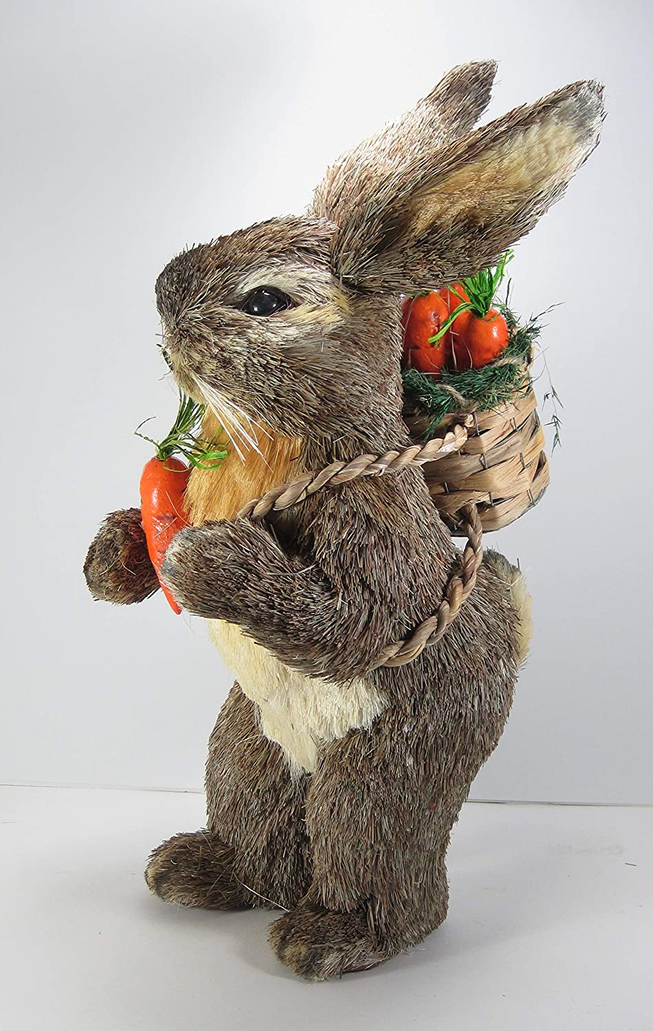 18 Inch Sisal Bunny with orange Carred and Backpack by K&K Interiors