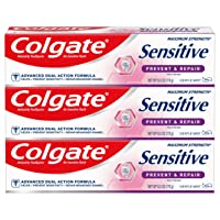 Colgate Sensitive Whitening Toothpaste, Enamel Repair and Cavity Protection, Prevent and Repair, Gentle Mint - 6 ounce (3 Pack)