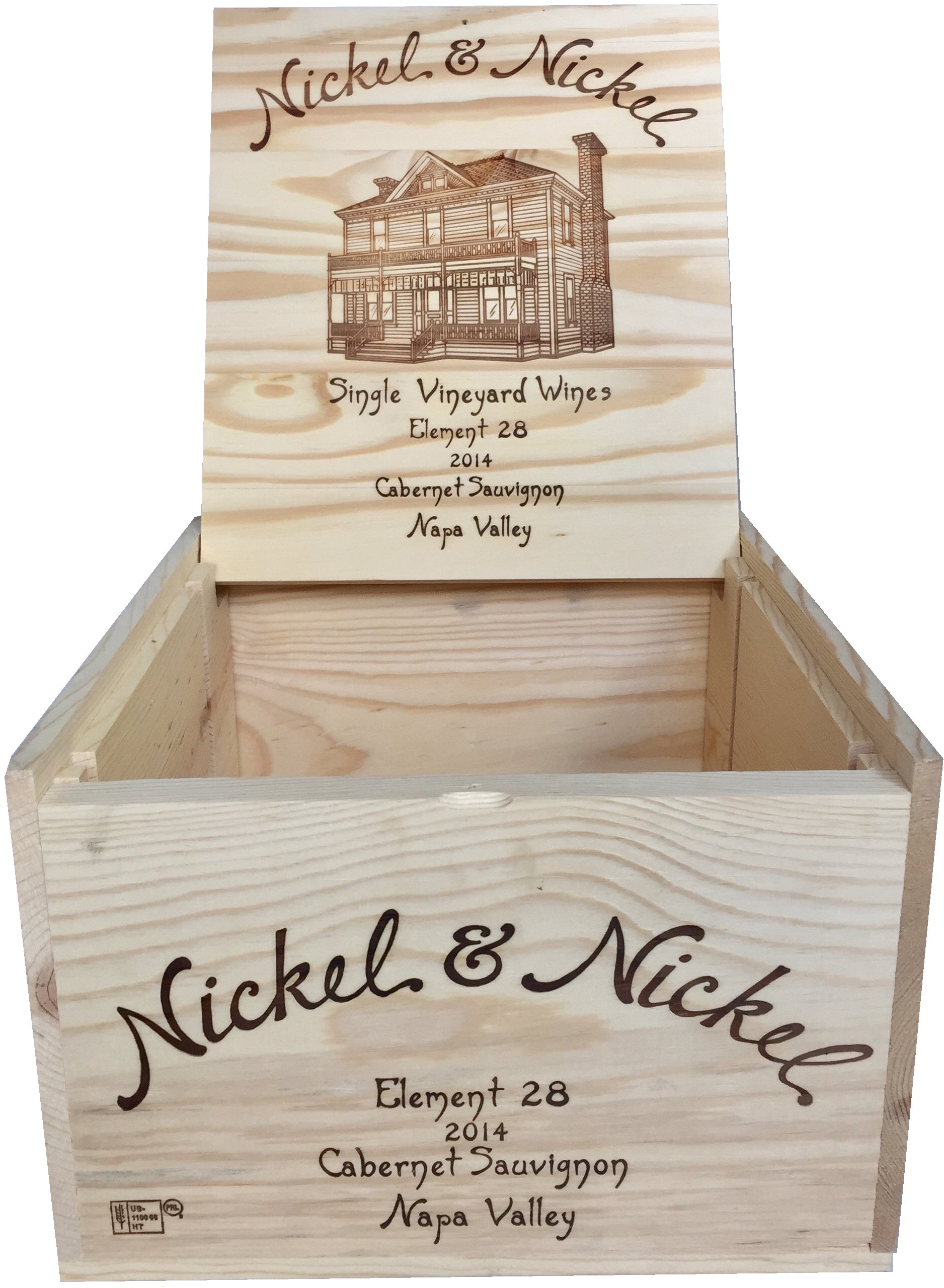 Vineyard Crates Wine Crate - Original Nickel & Nickel Decorative Wooden Wine Box with Hinged Lid and Logos On 5 Sides - Multiple Sizes - For Wedding, DIY or Wine Storage (14x12x8 NO Inserts) by Vineyard Crates (Image #2)