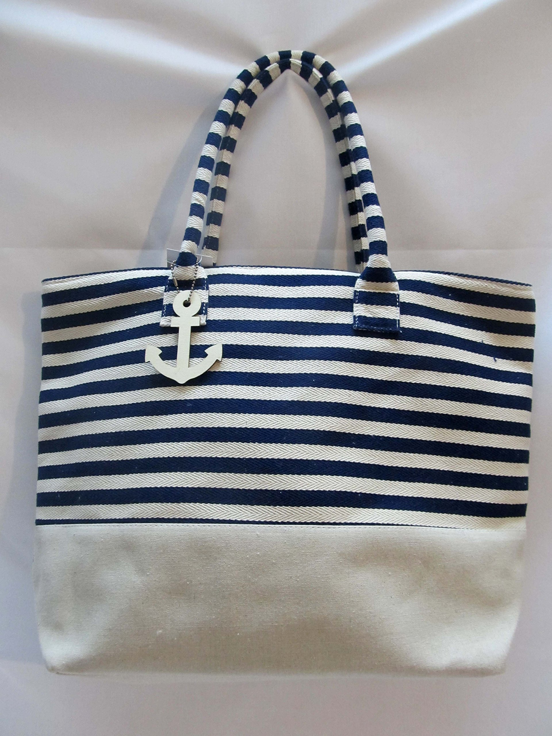 Heavy Duty Cotton Tote Bag Canvas Zippered Shopping Tote 20 Inch -NAVY BLUE