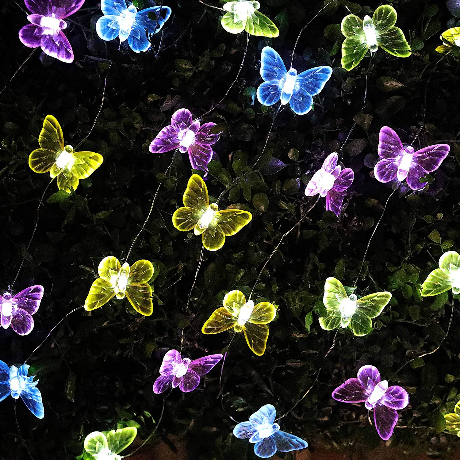 Solar Powered Butterfly Lights LED Fairy String Lamp Outdoor Garden Lawn Decor
