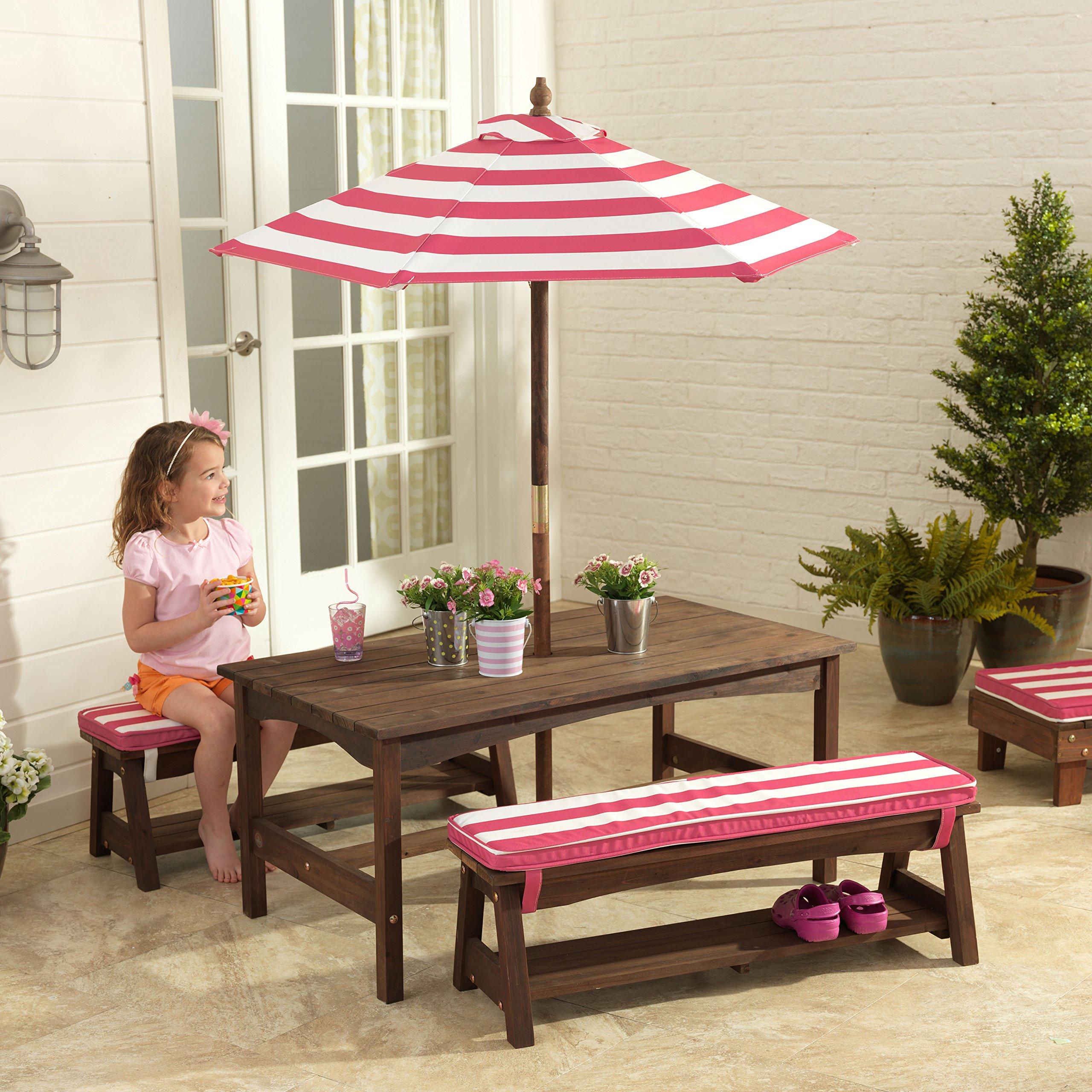 KidKraft Table, Bench Set Pink & White Outdoor Furniture by KidKraft (Image #2)