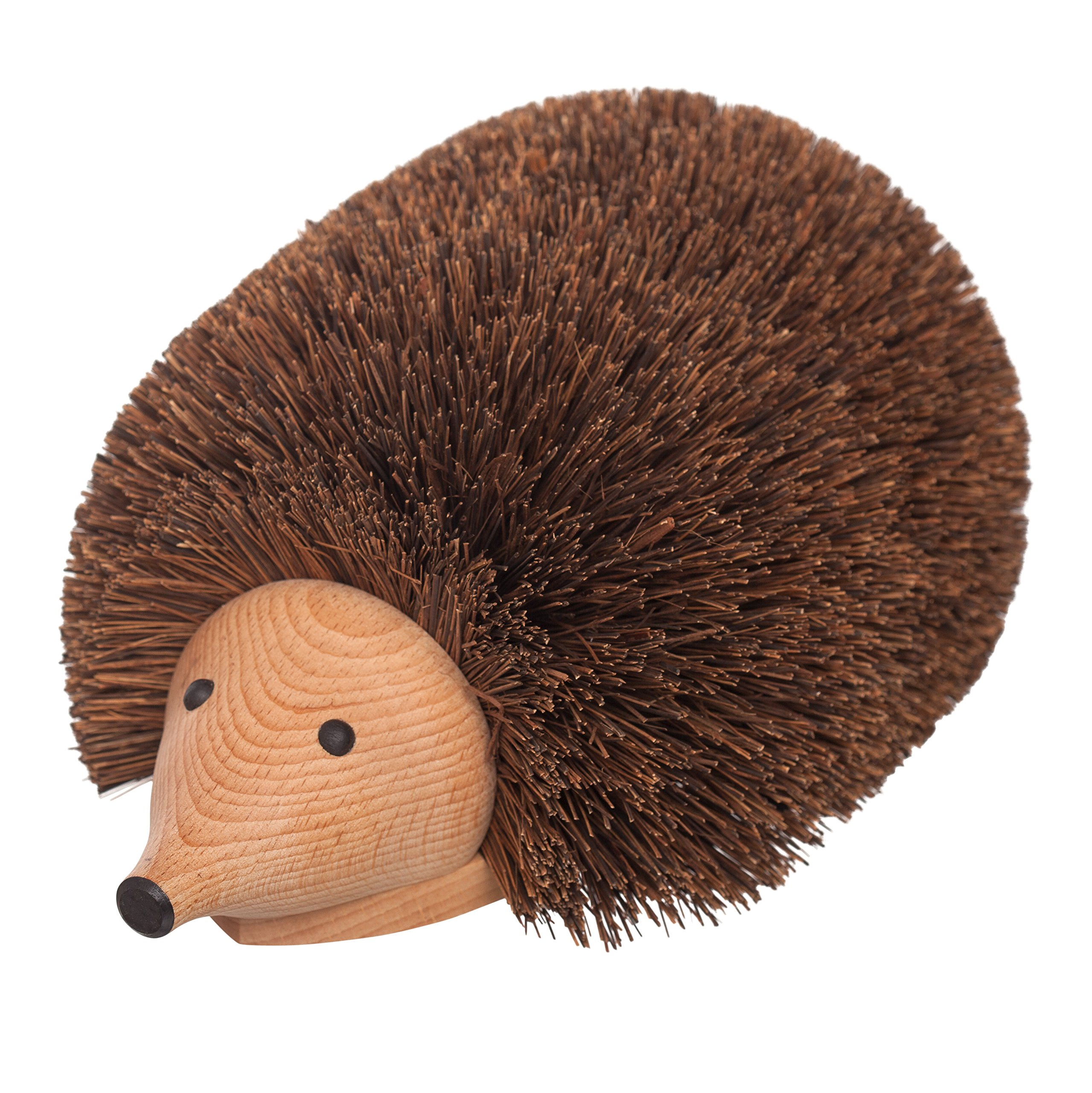 REDECKER Bassine Fiber Shoe Cleaning Hedgehog, 11-3/4'', Sturdy Beechwood Base, Durable Natural Bristles, Decorative Design, Made in Germany