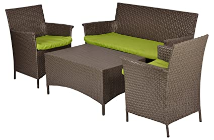 Furnifuture Conference Outdoor Patio Sofa Set Garden Furniture With Cushions - (Beige)