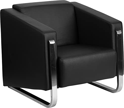 Flash Furniture HERCULES Gallant Series Contemporary Black LeatherSoft Chair with Stainless Steel Frame