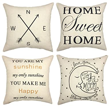 YOUR SMILE Set of 4 Decorative Throw Pillow Cover Cushion Case Square 18 x 18 Inch(You are My Sunshine)