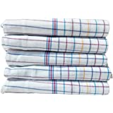 Fancyadda Khadi Handloom Cotton Face Towels for Women & Men (Pack of 5, Extra Large Size, Checks Pattern on White Fabric, Fast Absorbing, Quick Dry)