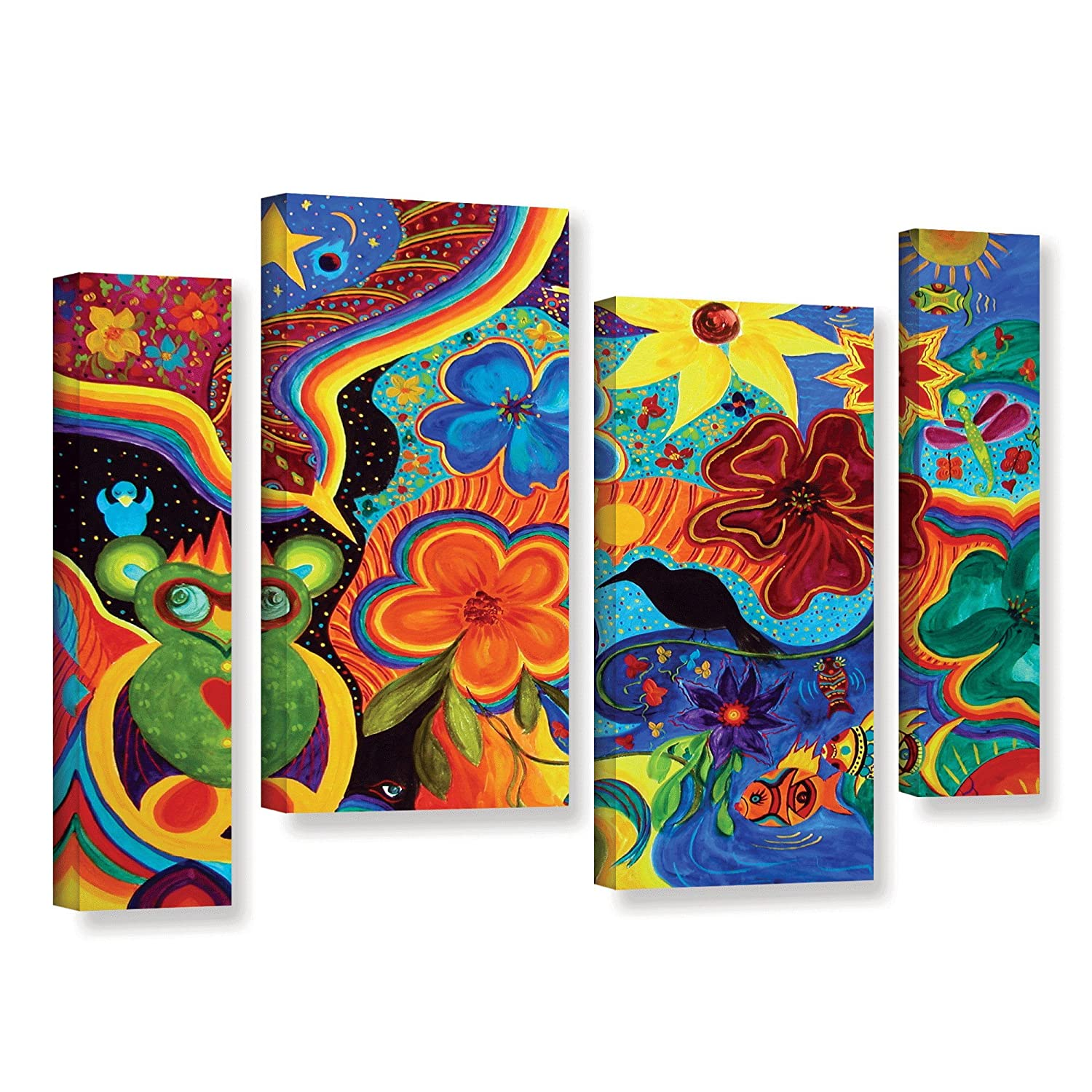 ArtWall Marina Petros Bluebird of Happiness 4 Piece Gallery-Wrapped Canvas Staggered Set 24 by 36