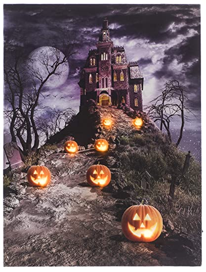 osw led lighted scary path to spooky halloween haunted house jack o lanterns canvas