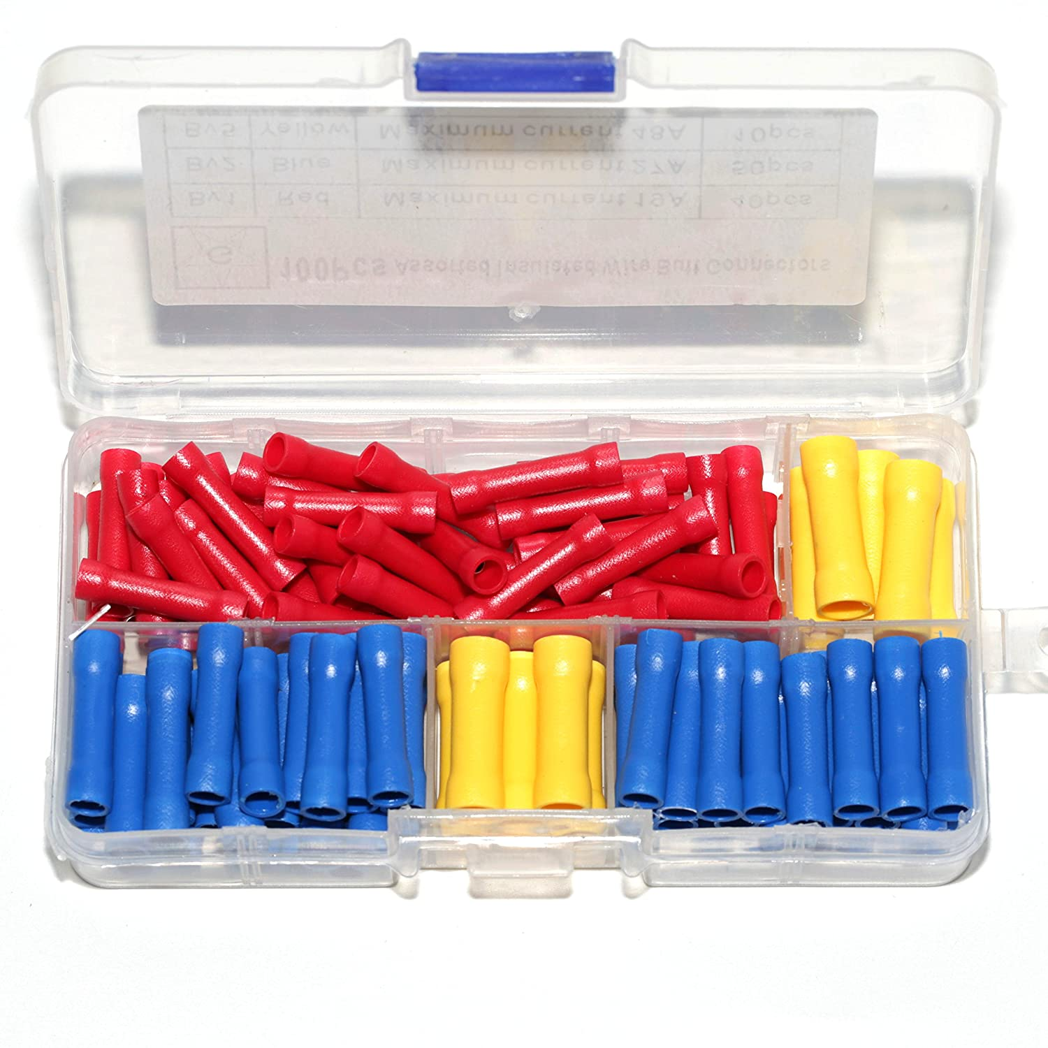 Ginsco 100pcs 10-22 AWG Assorted Insulated Straight Wire Butt Connector Electrical Crimp Terminal Connectors Generic