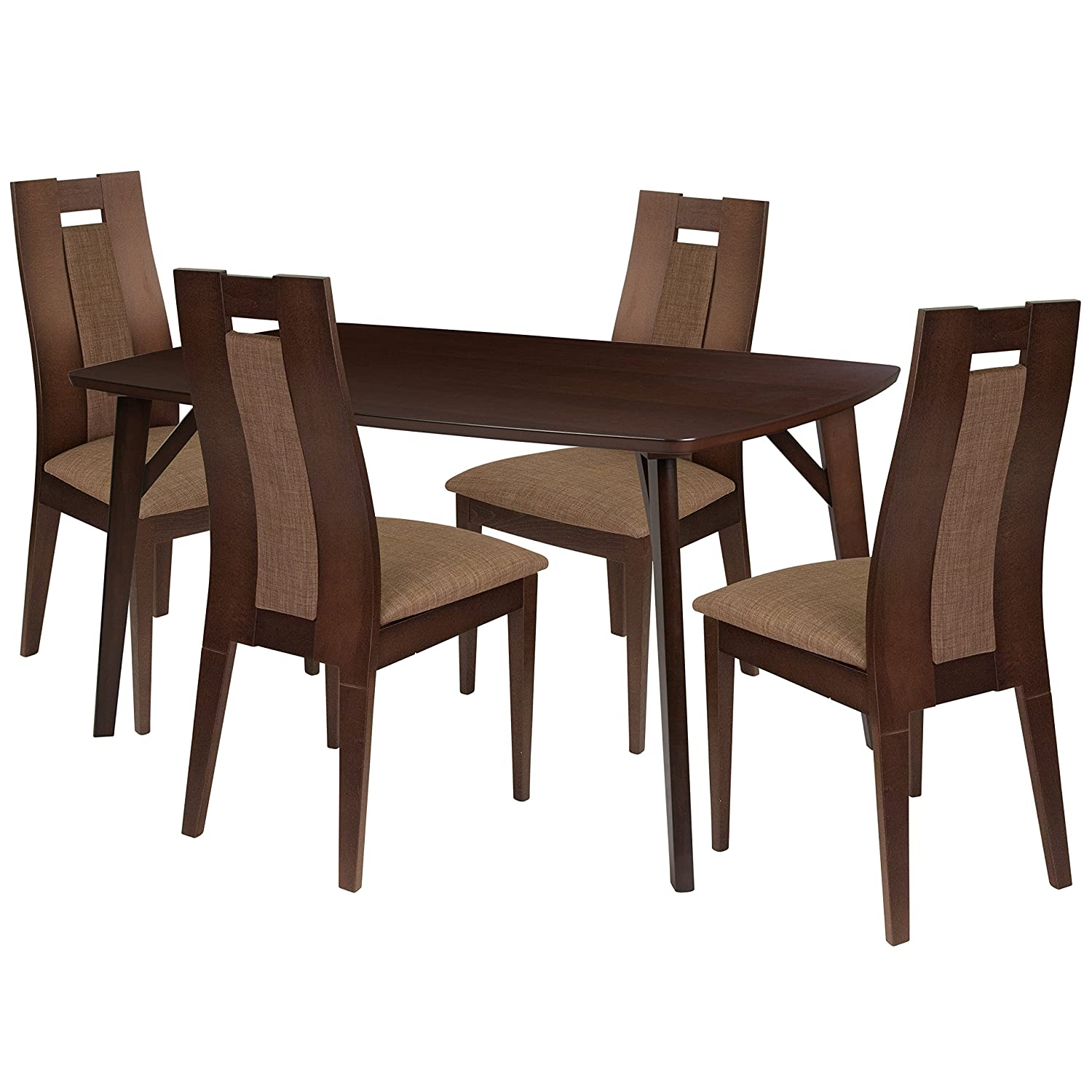 Amazon com flash furniture jefferson 5 piece espresso wood dining table set with curved slat wood dining chairs padded seats espresso beechwood kitchen