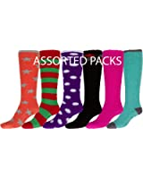 Sakkas Womens Super Soft Anti-Slip Fuzzy Knee High Socks Value Assorted 6-Pack