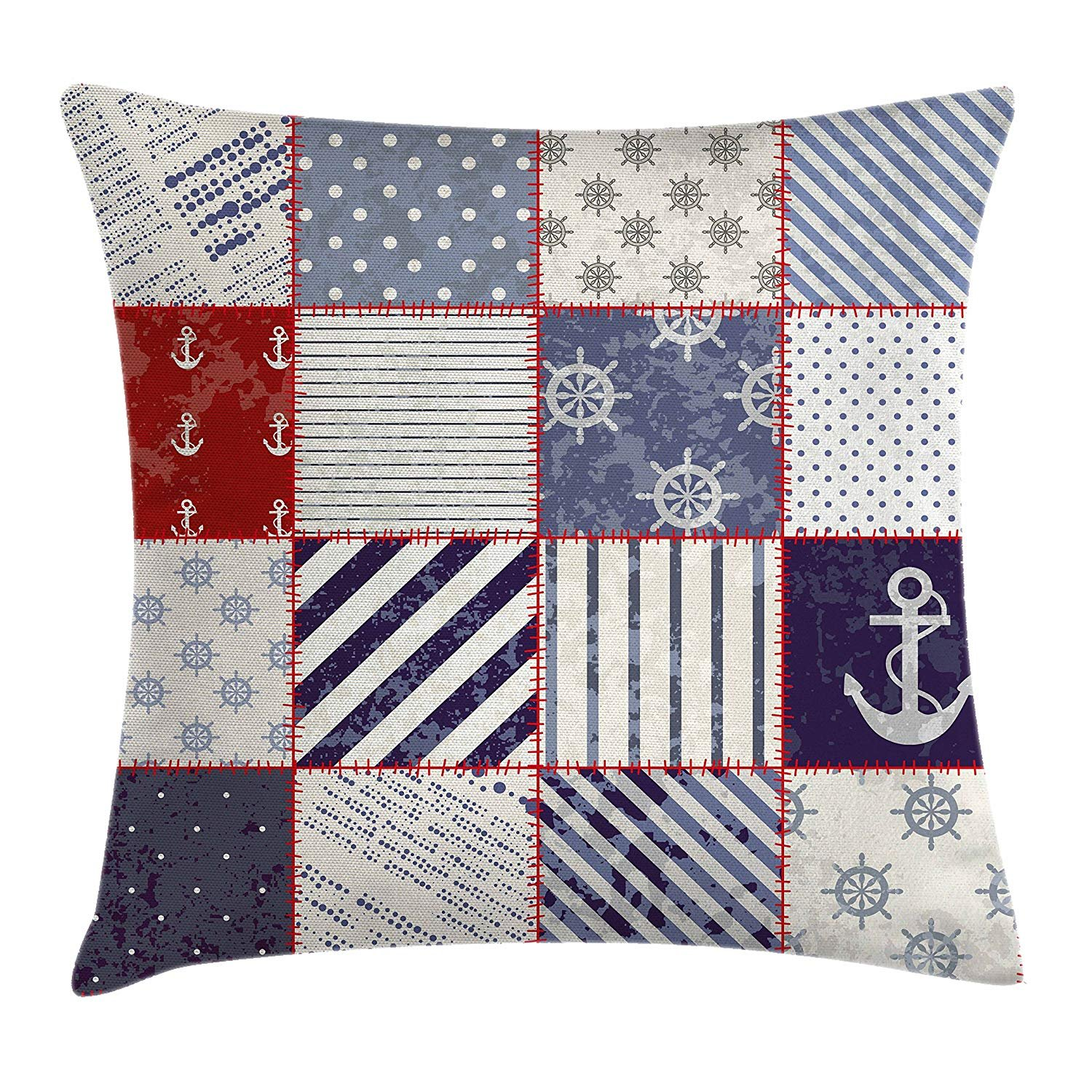 Farmhouse Decor Throw Pillow Cushion Cover, Marine and Nautical Life Design with Vintage Sailor Knots and Anchor Motifs, Decorative Square Accent Pillow Case, 18X18 inches, Beige Blue best bags