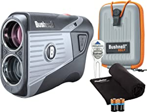 Bushnell Tour V5 (Standard) Golf Laser Rangefinder Patriot Pack PlayBetter Bundle | 2020 | +Carrying Case, Divot Tool, PlayBetter Microfiber Towel and Two Batteries | Pinseeker Jolt, 6X Mag | 201901P
