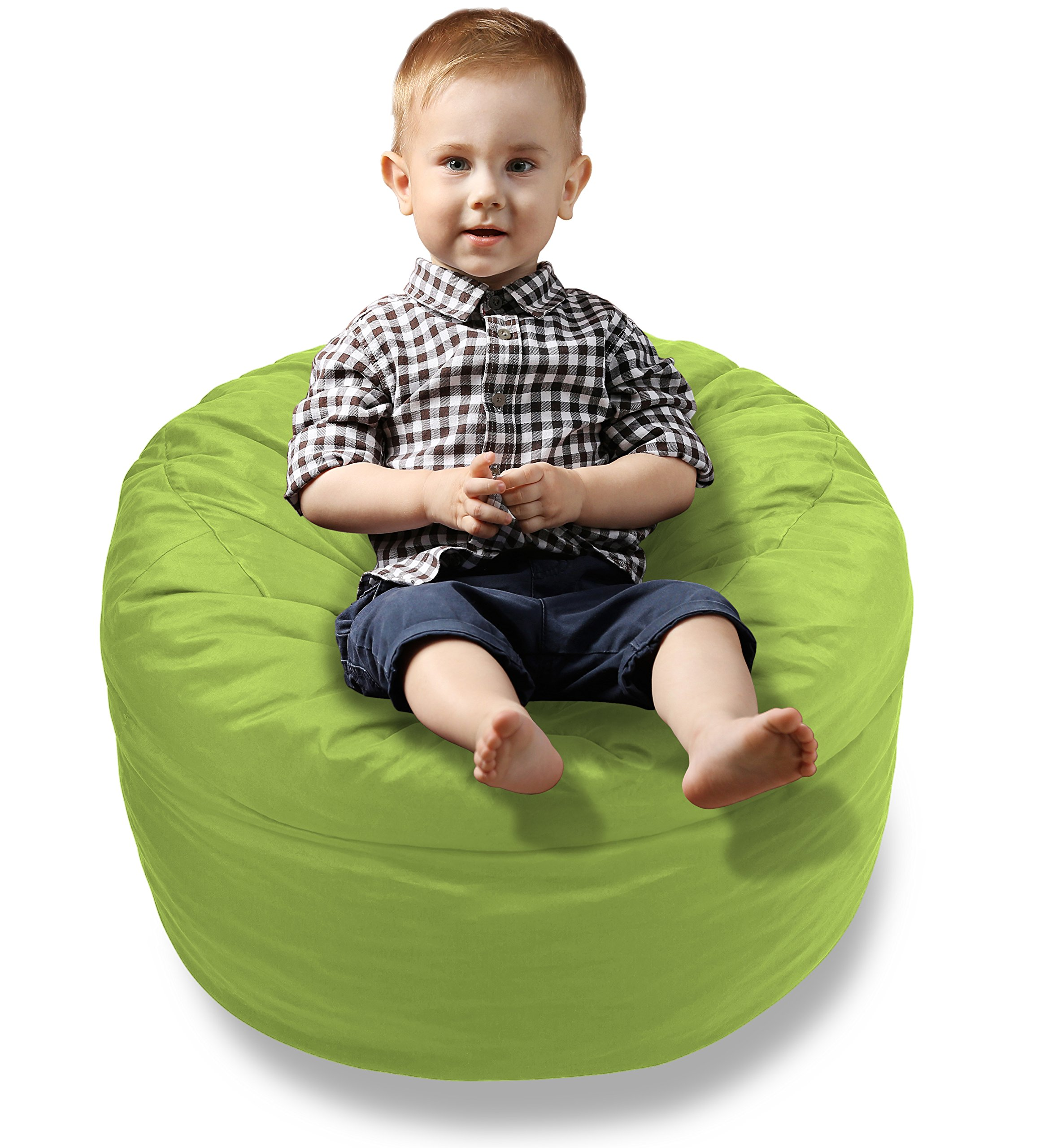 BeanBob Bean Bag Chair Cushion (Lime Green) 2ft - Bedroom Sitting Sack for Toddlers & Small Children w/Super Soft Foam Filling by BeanBob