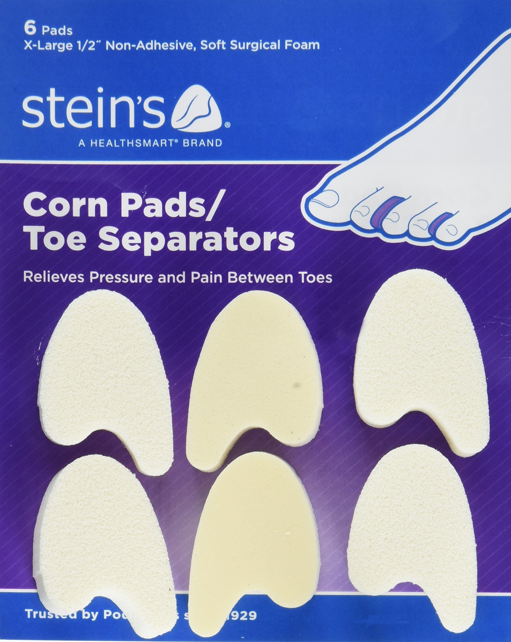 Steins 1/2 inch Soft Surgical Foam Corn Pads/Toe Separators, X-Large, 6 Count
