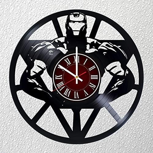Iron Man 12 inches / 30 cm Vinyl Record Wall Clock | Marvel Gift | Living Room Decor Idea | Avengers Movie Gift