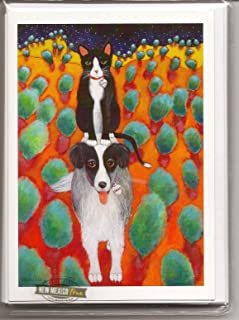product image for Santa Fe Artist Lori Faye Bock Art Note Card Portfolio - Dogs & Cats (12 cards - 2 each of 6 designs)