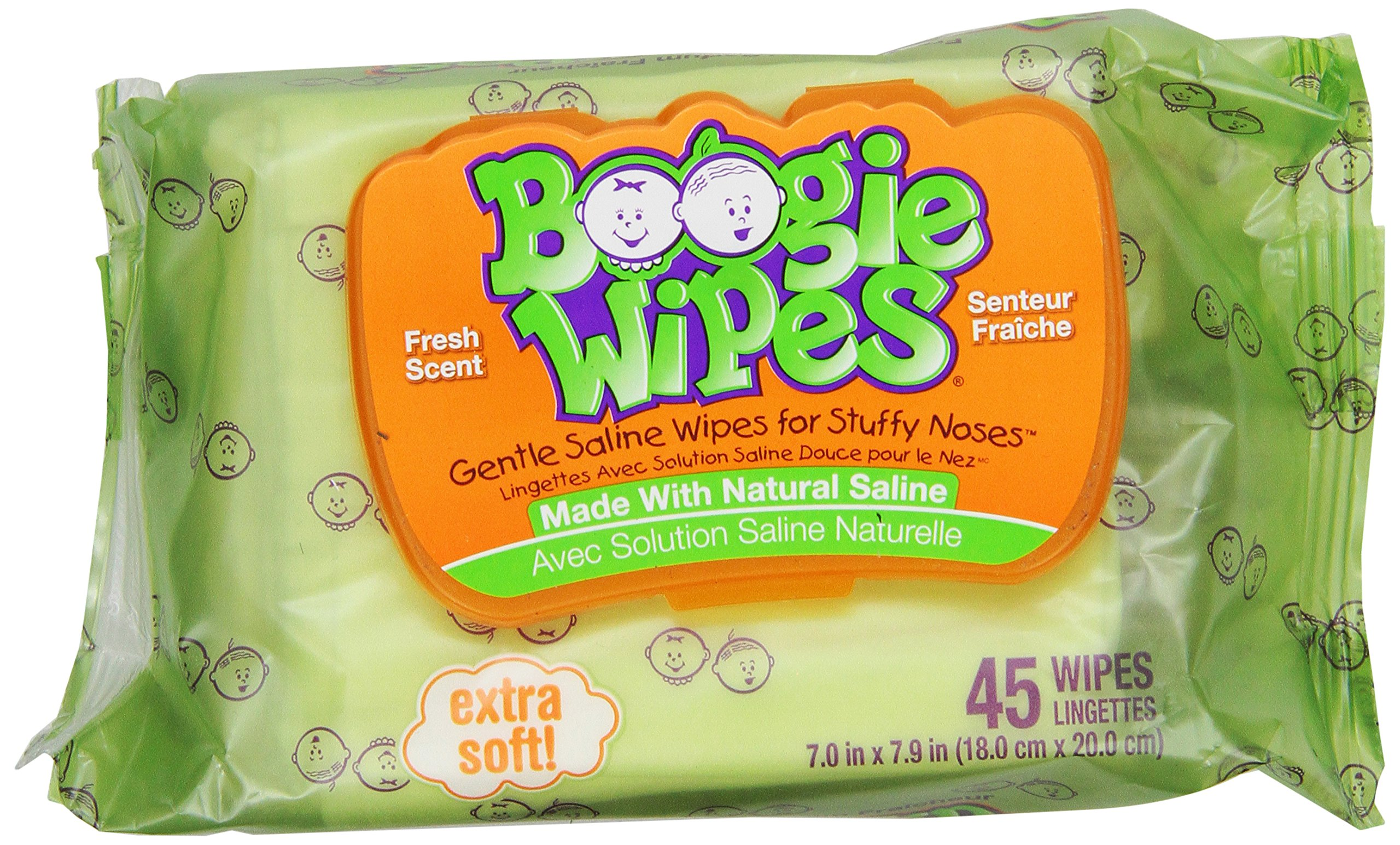 Boogie Wipes Natural Saline Kids and Baby Nose Wipes for Cold and Flu, Fresh Scent, 45 Count