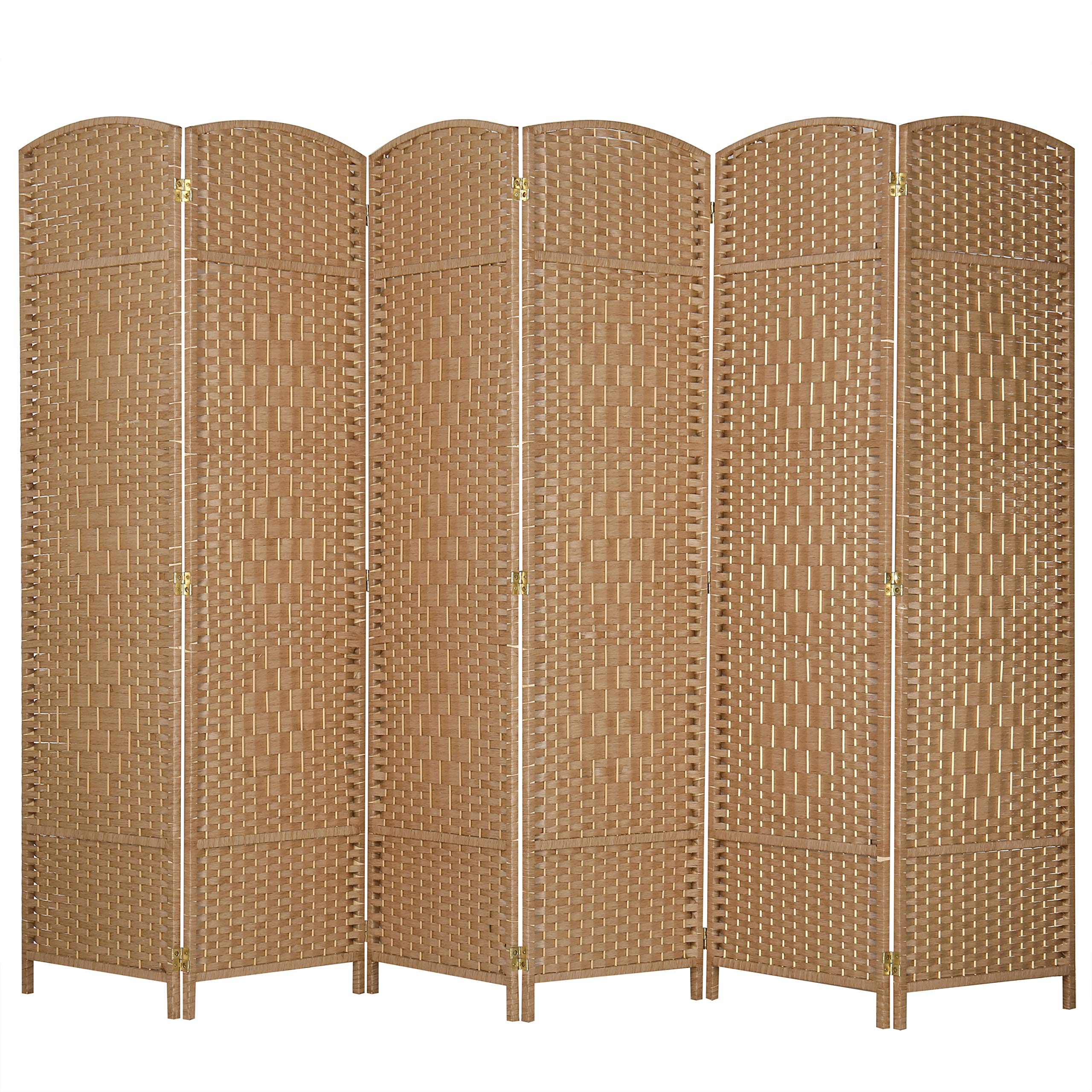MyGift 6-Panel Woven Beige Wicker Room Divider with Two-Way Hinges by MyGift
