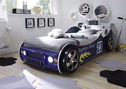 Autobett Inkl Beleuchtung Blau 90200 Cm Kinderbett Autorennbett Rennautobett Jugendbett Jugendliege Bettliege Einzelbett Kinderzimmer