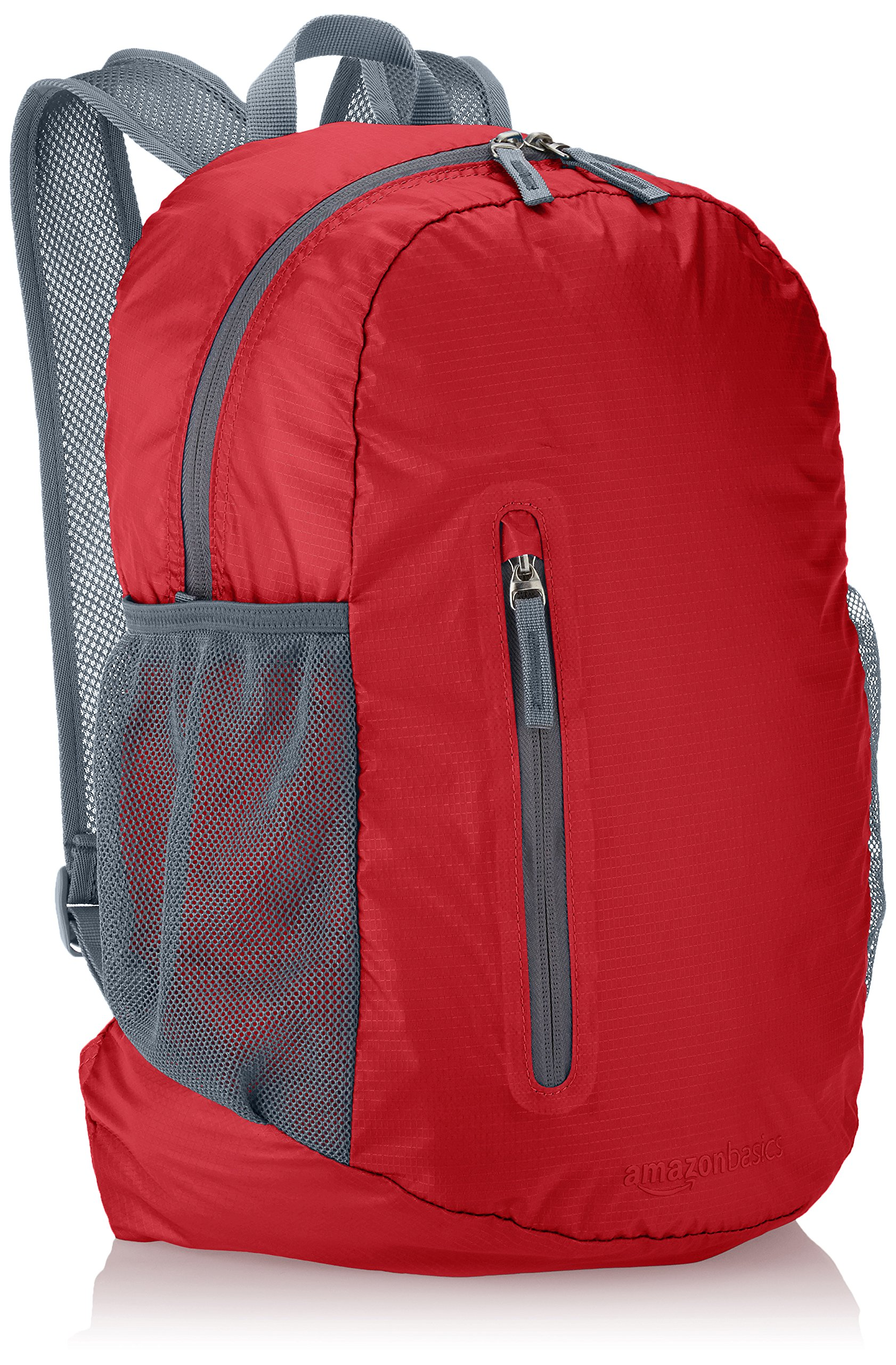 AmazonBasics Lightweight Packable Hiking Travel Day Pack Backpack - 17.5 x 17.5 x 11.5 Inches, 25 Liter, Red by AmazonBasics
