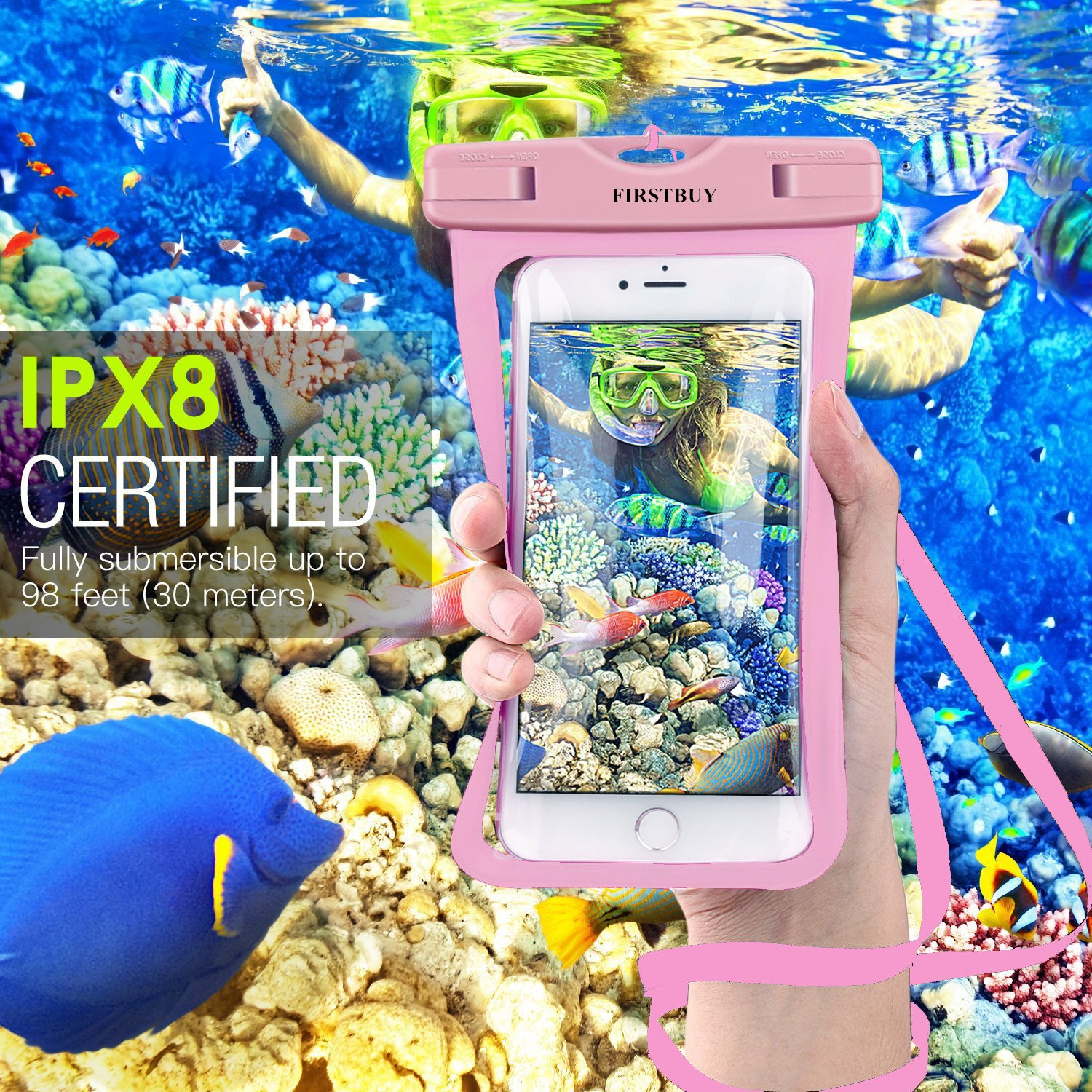 FIRSTBUY waterproof case Universal Waterproof Phone Pouch IPX8 phone Case Clear Sensitive PVC Screen Dry Bag for iPhone X/8/8PLUS/7/7PLUS/6S Samsung Galaxy S9/S8/S7 HTC10 Google Sony Nokia (2 pack)