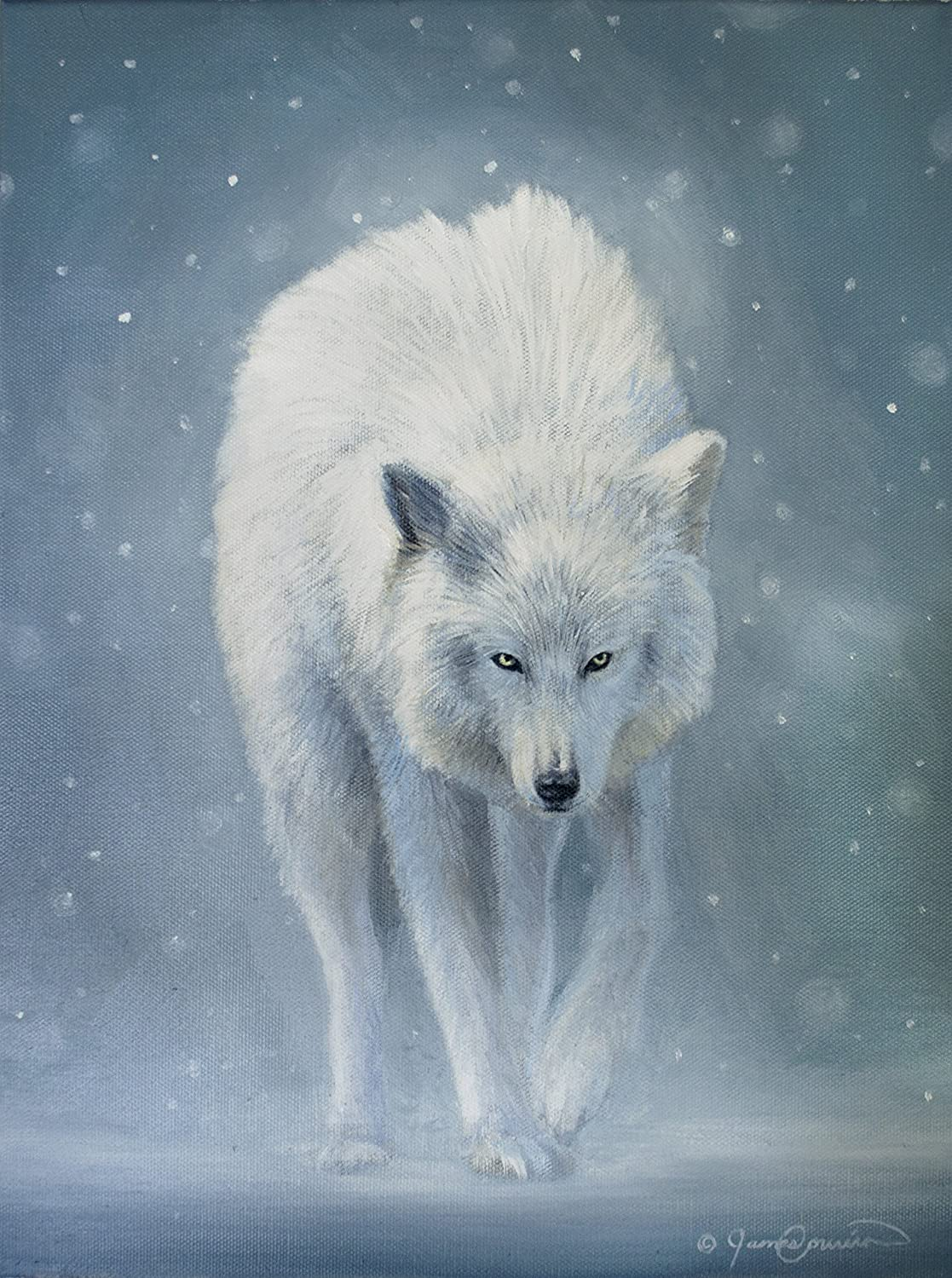 Amazon com the white wolf original oil painting 12x16 oil on canvas handmade