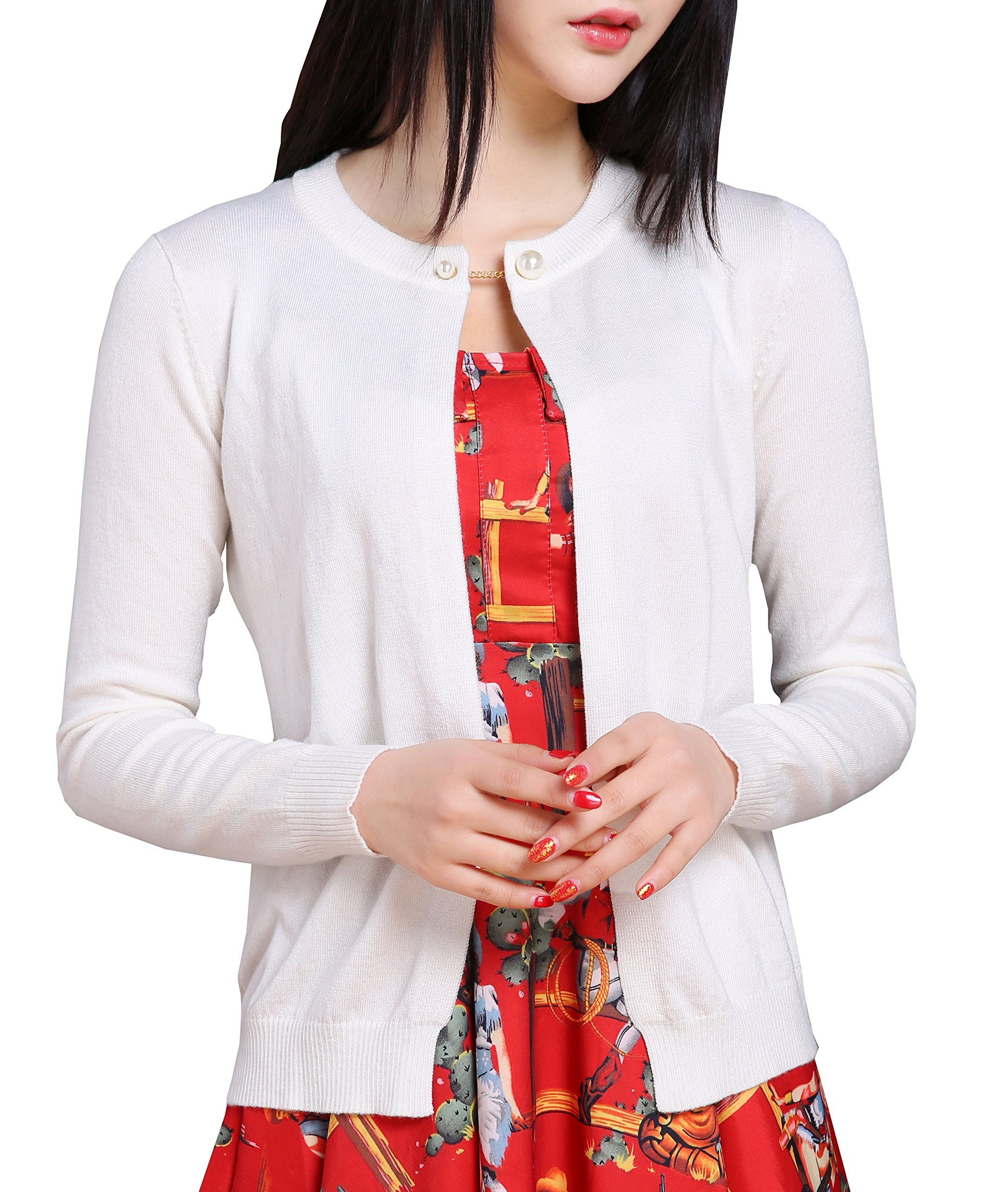 NianEr Womens Summer Cotton Plus Size Knitted Cardigan Ladies Thin Cardigans,Beige,XX-Large