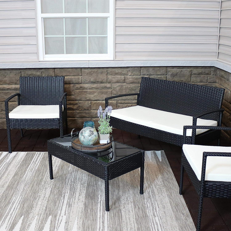 Amazon.com: Sunnydaze Castlebar - Juego de muebles de ratán ...