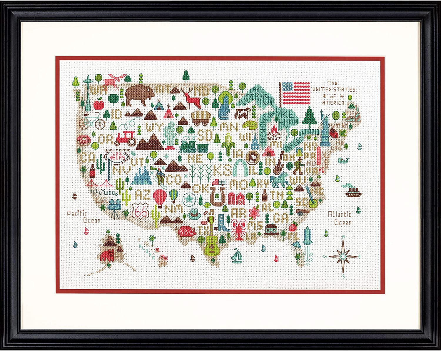 Dimensions Counted Cross Stitch Kit for Beginners 14 Count White Aida State Love 50 States USA Cross Stitch 6