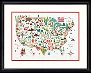 "Darice Dimensions 'Illustrated USA' Patriotic 50 States Counted Cross Stitch Kit, 14 Count White Aida Cloth, 14"" x 10"", Red"