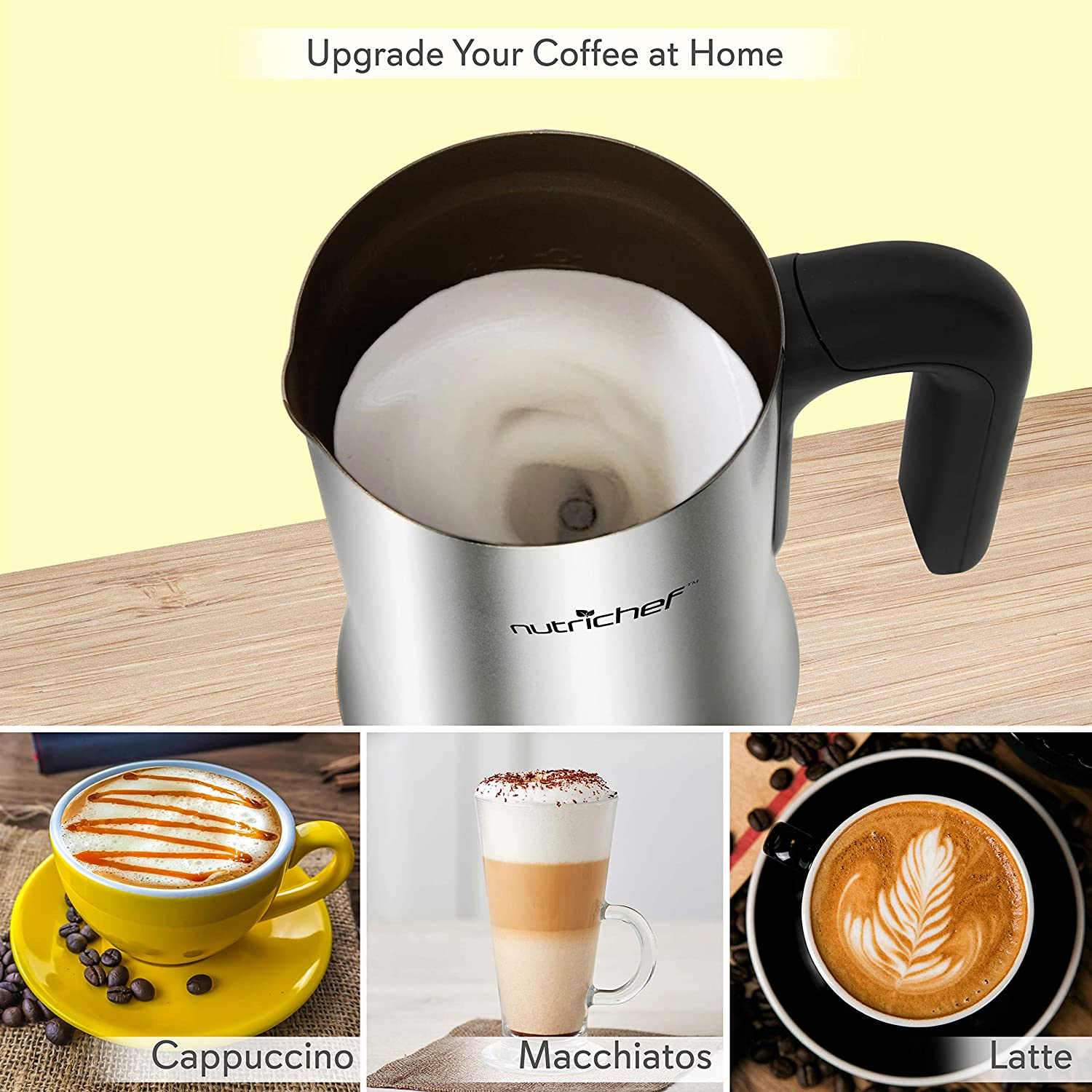 Electric Milk Warmer and Frother – 2-in-1 Automatic Hot or Cold Milk Steamer Heater Foamer Blender, Froth Foam Maker for Latte Cappuccino Coffee Drink, Silver Stainless Steel – NutriChef PKNESPRESO65