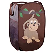 Mesh Popup Laundry Hamper - Portable, Durable Handles, Collapsible for Storage and Easy to Open. Folding Pop-Up Clothes Hampers are Great for The Kids Room, College Dorm or Travel. (Monkey)