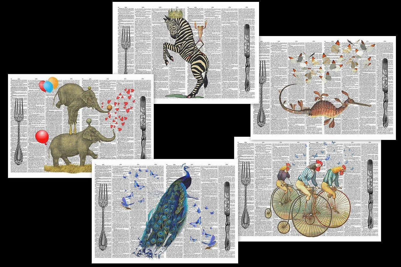 Lot de 5 sets de table plastifiés illustration vintage