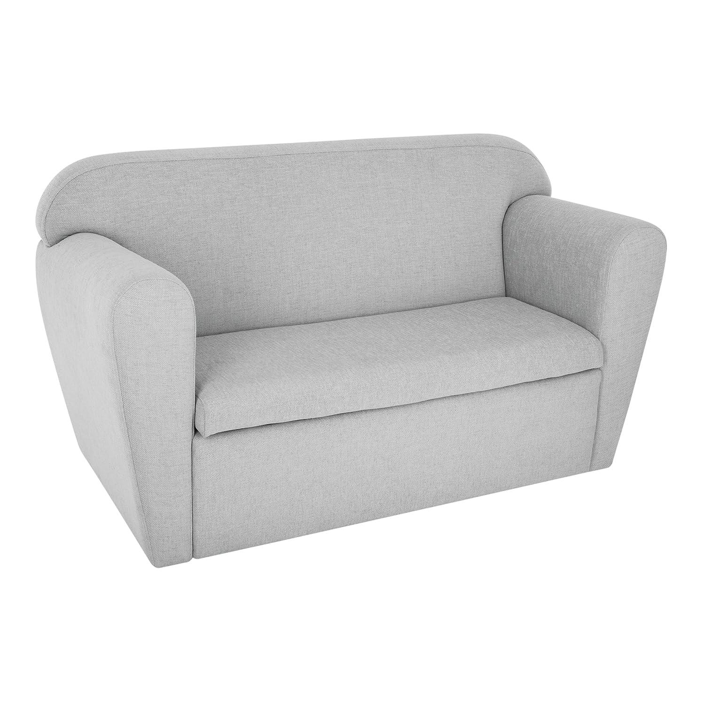 WEB2O–620370–Banco sillón doble para niños con baúl para juguetes, color gris.