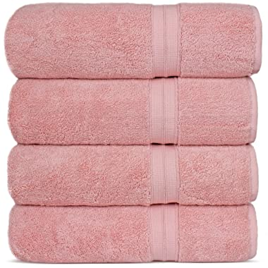 Luxury Premium Turkish Cotton 4-Piece Bath Towels, Long-Stable 20/2, 2 Ply Turkish Ring-Spun Cotton Yarn Makes The Luxe-Factor, Eco-Friendly, (Pink)