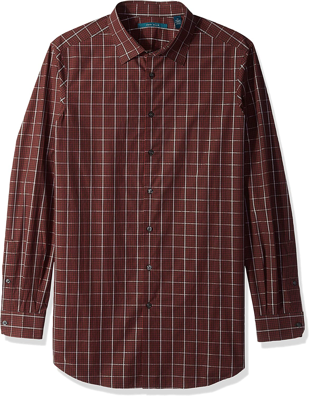Perry Ellis Mens Long Sleeve Plaid Mulit Color Shirt