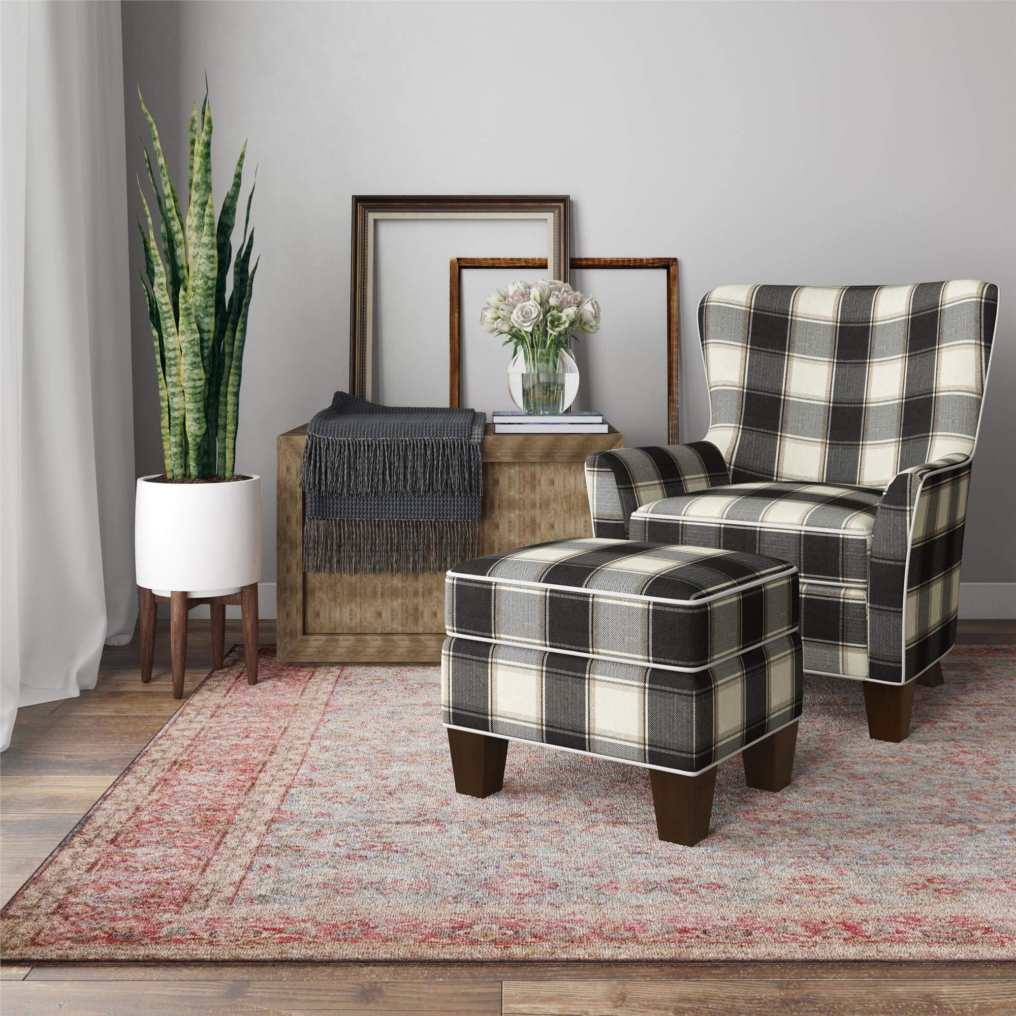 Dorel Living Berkeley Chair & Ottoman Set, Black Plaid Accent Chair by Dorel Living