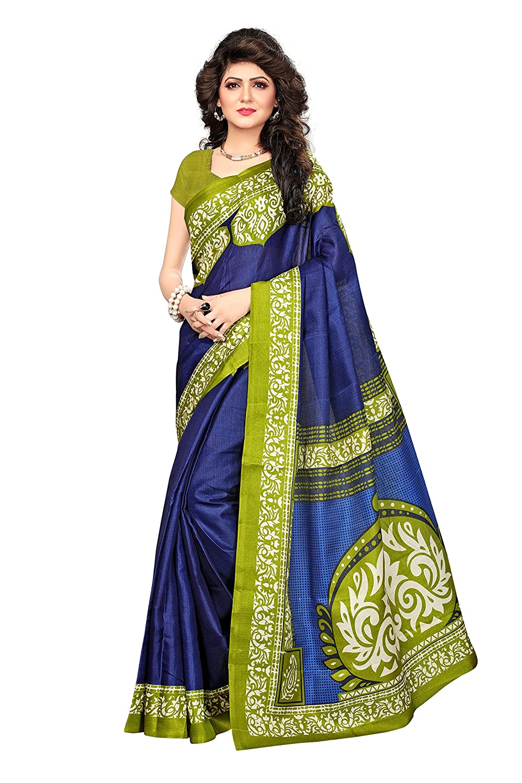 Shonaya Women`S Blue Colour Khadi Jute Silk Printed Saree RTKJS-1008