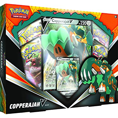 Pokemon TCG: Copperajah V Box | 1 Foil Cards | 4 Booster Packs: Toys & Games